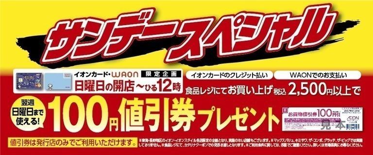 サンデースペシャル 翌週日曜日までご利用いただける100円値引券プレゼント!