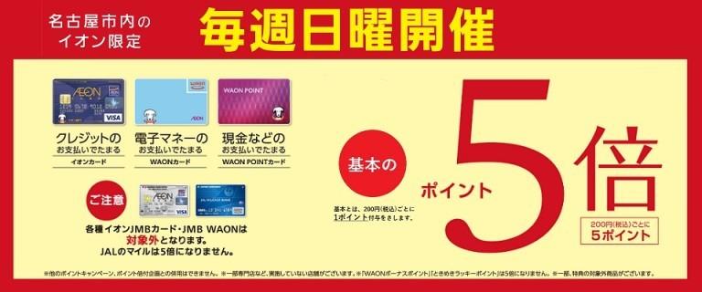 名古屋市内のイオン限定 毎週日曜開催ポイント5倍