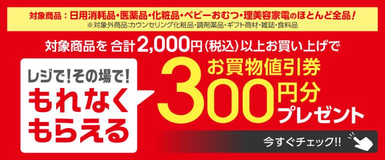 もれなくもらえるお買物値引券300円分プレゼント!