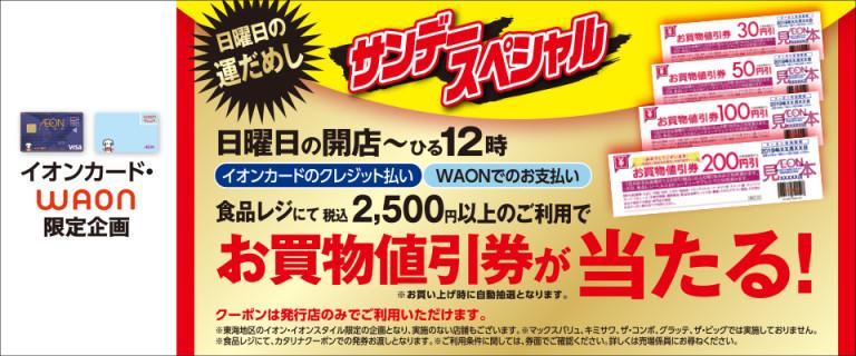 <愛知・岐阜・三重・静岡地区店舗限定!>サンデースペシャル お買物値引き券が当たる!