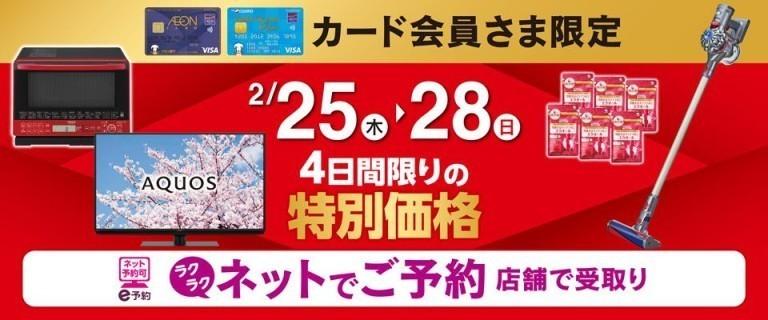 イオンカードお支払い限定 2月25日(木)~28(日) 4日間限りの特別価格