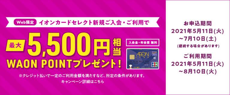 WEB限定 イオンカードセレクト新規ご入会・ご利用でWAONPOINTプレゼント!