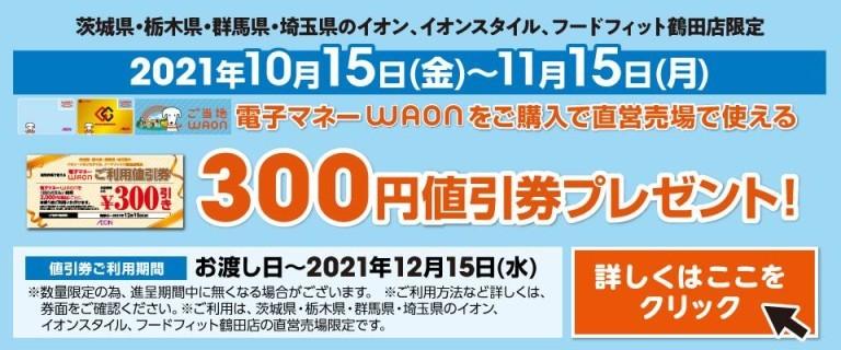 ワオン300円値引券プレゼント1015~1115